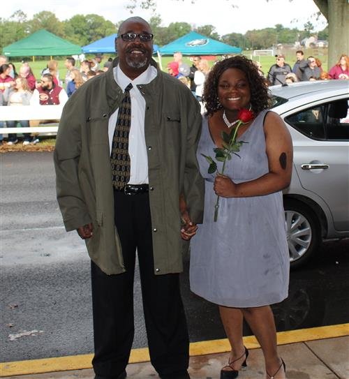 Homecoming Queen Amani Waters is pictured here with her father, Clyde.