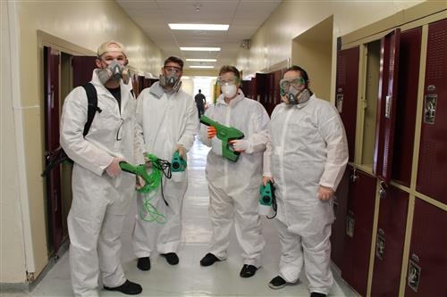 Germ-Nix employees are shown prior to deep-cleaning Glassboro Intermediate School.