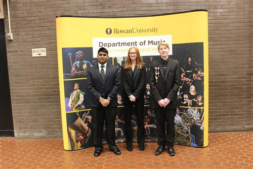 All South Jersey musicians Mayooran Mohanakanthan, Alicia Petrany, and Logan Stockl at Rowan.