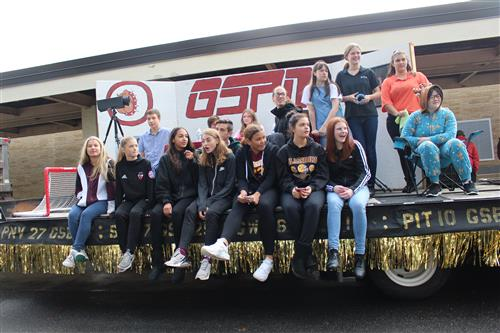 The GHS freshman are pictured on their float.