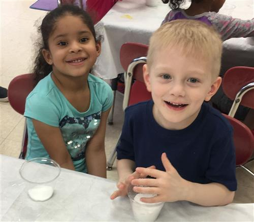 A picture of two prekindergarten students at Rodgers.