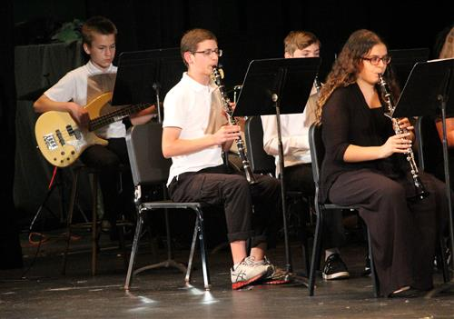The guitarist and clarinetists are pictured here.