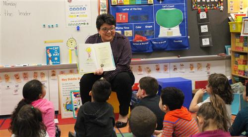 Principal Danielle Sneathen is pictured reading.