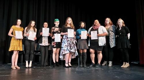 GHS Art Honor Society members and new inductees are pictured with co-adviser Christine Abrams.