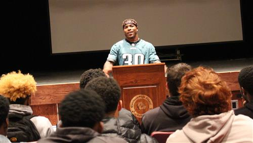 Corey Clement is pictured speaking to the GHS Football Team.